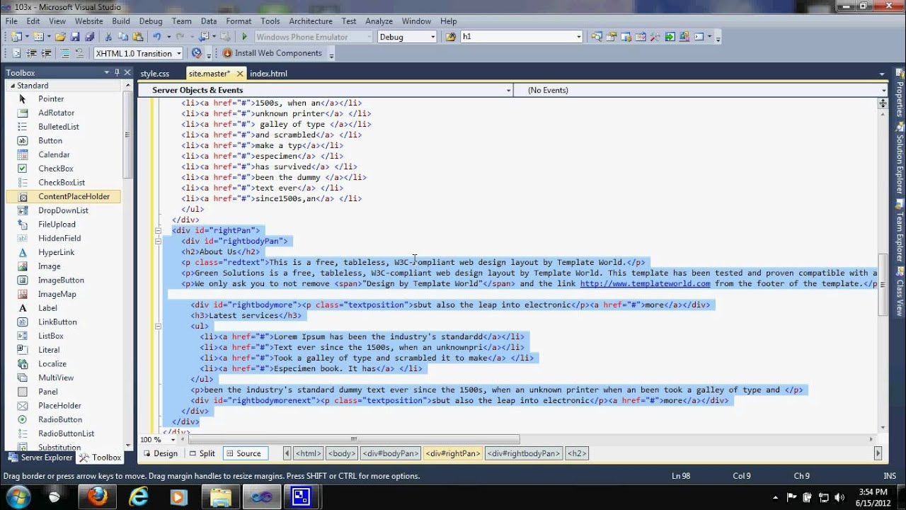 edit html template in asp.net Tutorial part (14) - YouTube