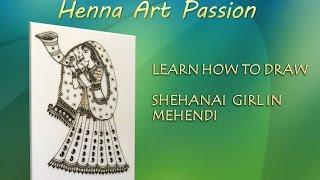 learn how to draw shehanai girl with mehendi bridal traditional mehendi