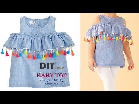 3c22a037a4 DIY Designer Cold Sleeves Top For Baby Girl Full tutorial