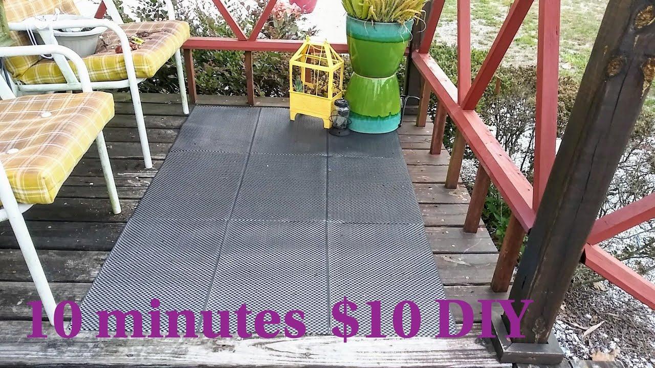 10min. $10 dollar tree DIY outdoor rug/ home decor/garden ...