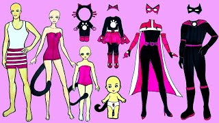 Paper Dolls Dress Up Costumes Cat Family Simple Papercrafts Dresses Handmade Quiet Book