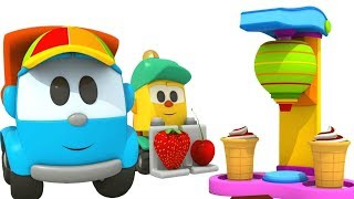 Kuormuri Leon seikkailut. Lasten jäätelökone. Leluanimaatio lapsille.