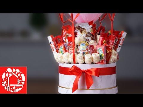 Букет из Конфет для детей на Воздушном Шаре! Как сделать букет в коробке своими руками.