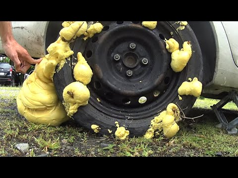 What will happen if fill the wheel construction foam experiment what will happen if fill the wheel construction foam experiment emergency fix a flat tire solutioingenieria Gallery