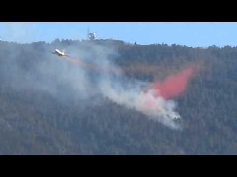 Tanker 911 retardant drop Pinal Mountains Globe Arizona