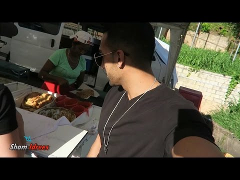 Eating Doubles in Trinidad