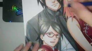 Speed Drawing - Uchiha Family (Sasuke, Sakura and Sarada)