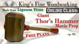 85 - Life Size Thor's Hammer Movie Prop from Solid Lignum Vitae Densest Wood on Earth