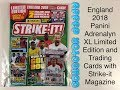 England 2018 Panini Adrenalyn XL Limited Edition and trading cards in Strike-it magazine