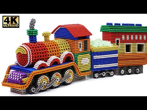 DIY - How To Make Colored Harry Potter Train From Magnetic Balls ( Satisfying )   Magnet World 4K