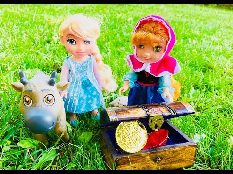 TREASURE HUNT Surprise Box  with DISNEY ANNA and ELSA Toys Toddler Frozen Dolls!