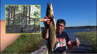 Рыбалка на щуку Начали строить балаган Заимка в лесу