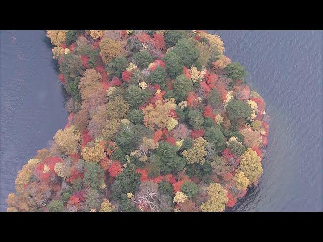 奥日光、錦秋の風景を上空から いろは坂は朝から大渋滞