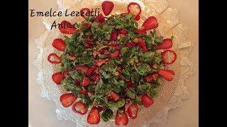 Çilekli Semizotu Salatası. Diyet tarifler. Salata tarifleri.
