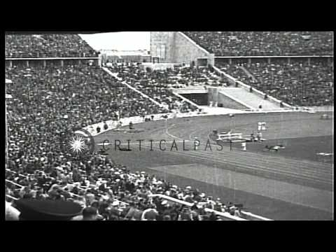 Americans Cornelius Johnson and Jesse Owens win golds in Athletic events during t...HD Stock Footage