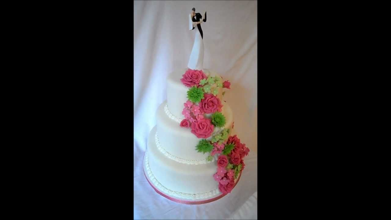 Pink And Green Cascading Flowers Wedding Cake Youtube