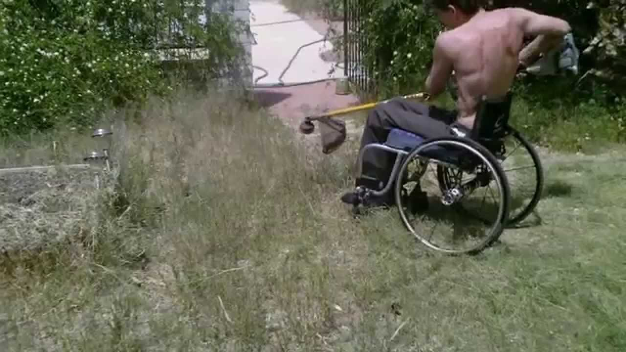 wheelchair weed wedding chair rental style - using gas powered eater in backyard l1 injury 4-4-14 youtube