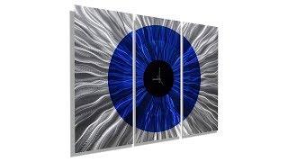 Time In Focus - Modern Large 3 Panel Metal Wall Clock By Jon Allen