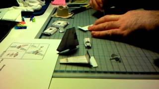 Timelapse building tiny Imperial Shuttle Papercraft