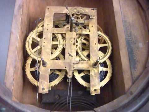 Antiguo reloj de pared marca ansonia lima per youtube for Relojes de pared antiguos de pendulo