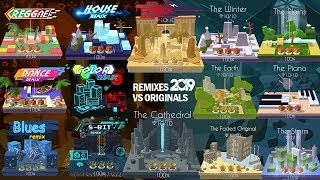 Dancing Line All Remixes VS Original Levels 2019 - Faded,Cathedral(RR),Earth(CR),
