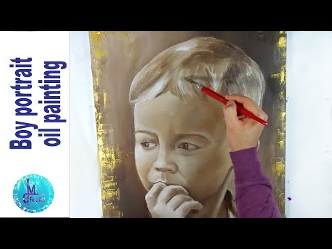Boy Portrait Speed Painting with oils, vintage look made easy – Sepia color scheme