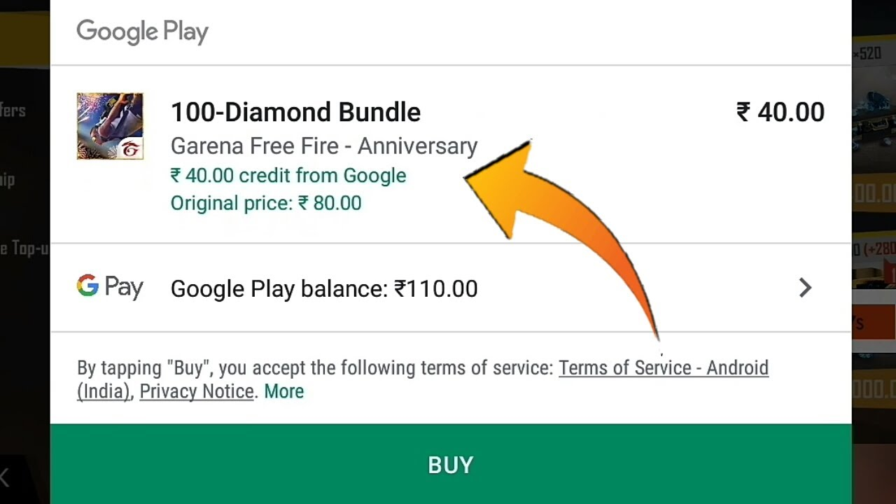 How To Redeem 40rs Google Play Credit To Buy Free Diamond In Free Fire Youtube