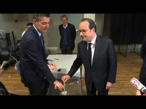 Outgoing president Hollande casts ballot in French vote