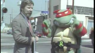 """(1990) """"Blue Line Safety Release with Sheriff's Dept. and Ninja Turtles"""" - SCRTD"""