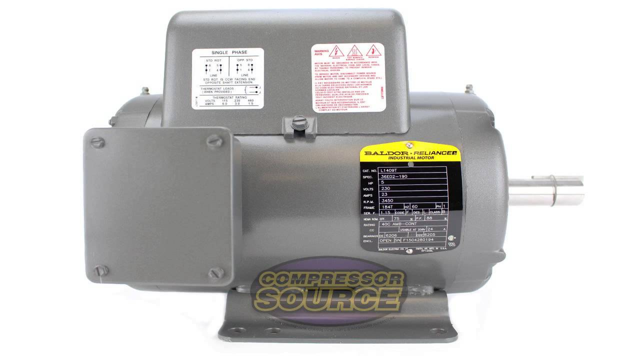 maxresdefault 5 hp 3450 rpm r56y frame 208 230v air compressor motor century Air Compressor T30 Wiring-Diagram at bakdesigns.co