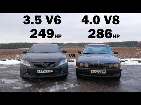 CAMRY 3.5 (чип, выхлоп) vs BMW e34 540i (чип, выхлоп) БИТВА ТИТАНОВ!!! ГОНКА