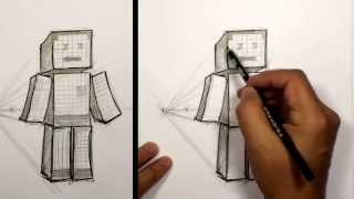 How to Draw 3D Minecraft Character Sketch | MAT