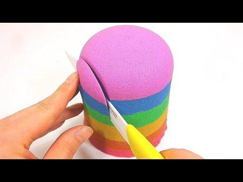 Colors Kinetic Sand Cake Learn Colors Slime Toilet Poop Real Syringe Play DIY