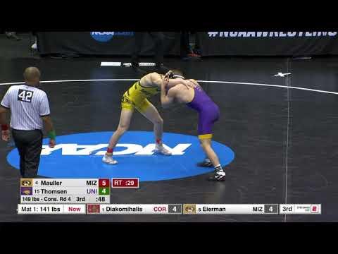 149lbs Brock Mauller (Missouri) Fall Max Thomsen (Northern Iowa)