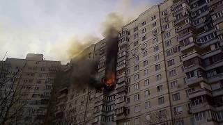 Пожар в Митино, Москва. 6.04.18. жилой, семнадцатиэтажный дом. Пятницкое шоссе, дом 47.