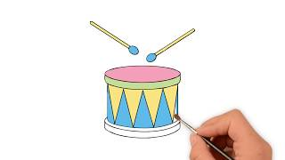 How to draw a Drum  - How to draw funny cartoons