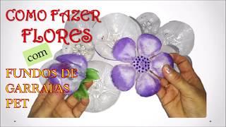 FLORES DO FUNDO DE GARRAFA PET/ARTE com PET