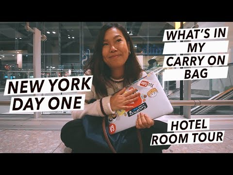 My Carry-On Essentials + Hotel Room Tour! | New York City Travel Vlog - Day 1