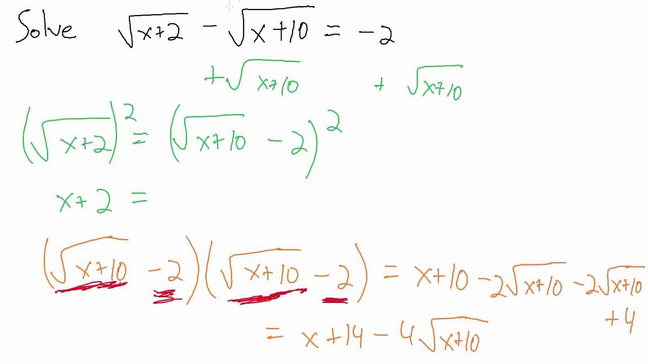 Worksheets Solving Radical Equations solve radical equations example 4 two radicals youtube radicals