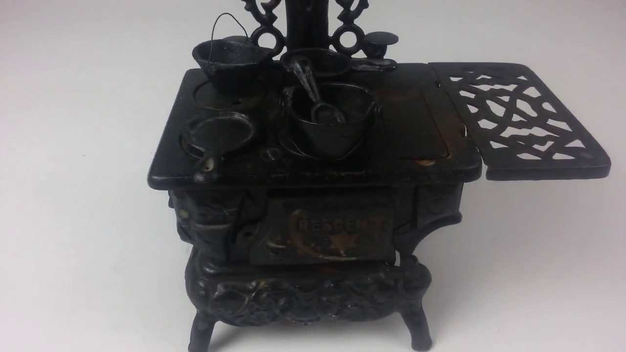 crescent cast iron wood burning stove with accessories salesman