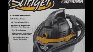 Stinger 2.5 gallon/9.5 L Wet/Dry Vac use & review