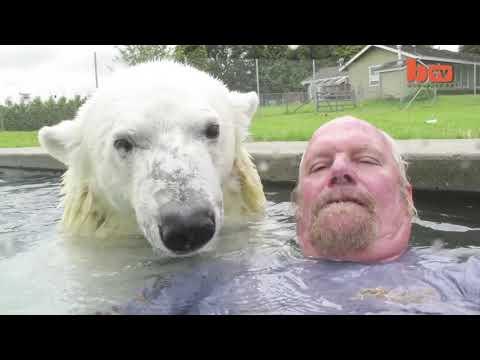 Единственный человек в мире, который умеет плавать с белым медведем-гризли