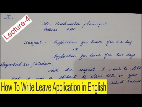 How to Write Leave Application in English Lecture 4