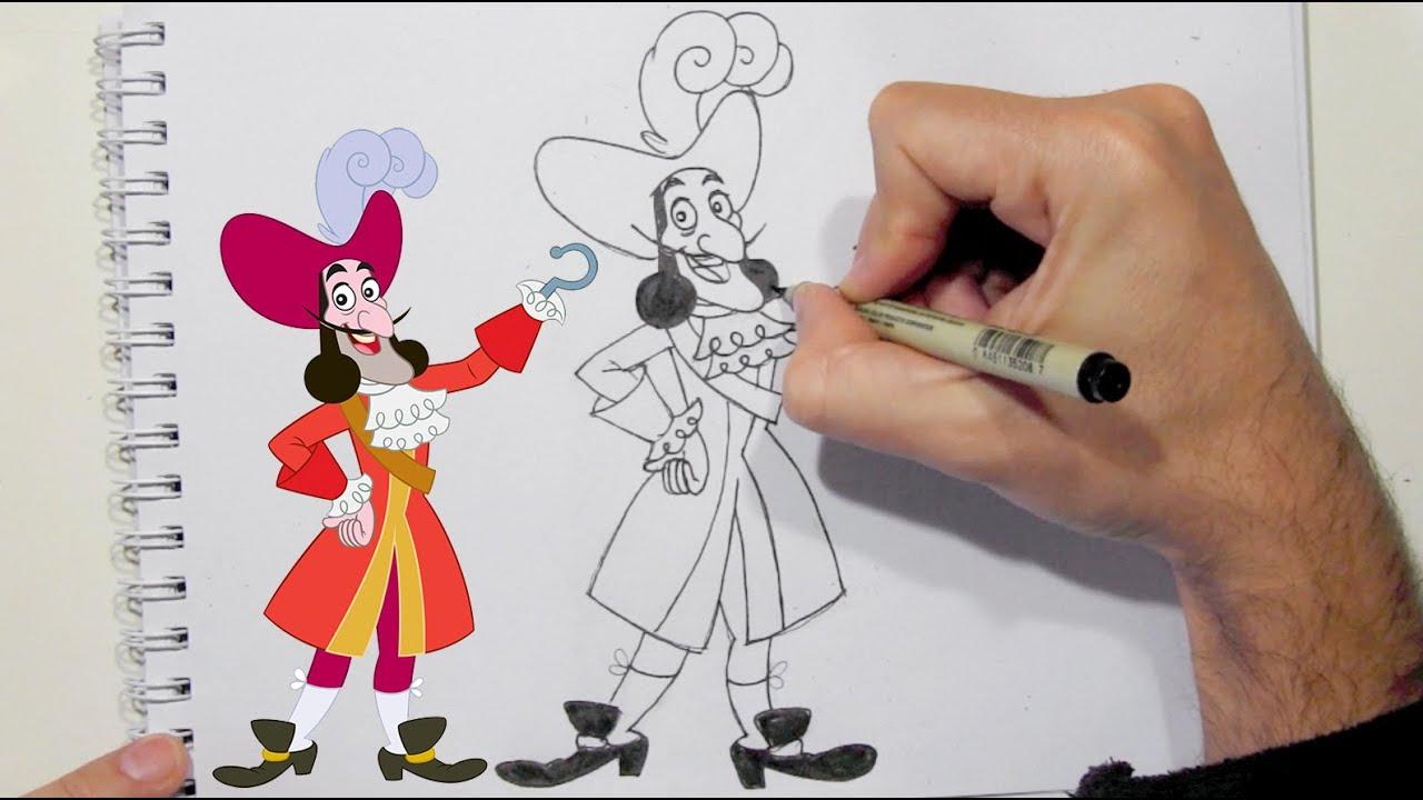 como desenhar o capitão gancho de jake e os piratas da terra do