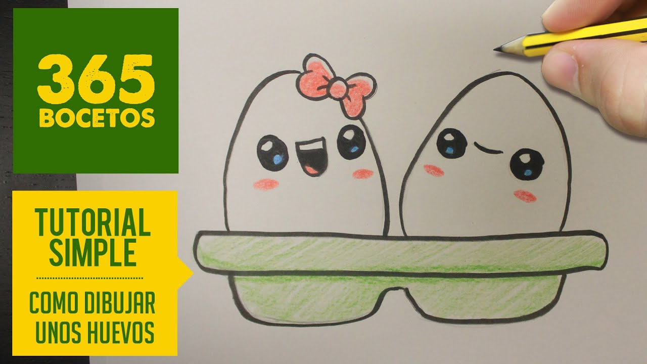COMO DIBUJAR UNOS HUEVOS KAWAII PASO A PASO , Dibujos kawaii faciles , How  to draw a eggs