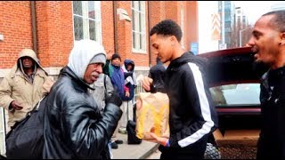 TEENAGER  FEEDING THE HOMELESS (emotional)