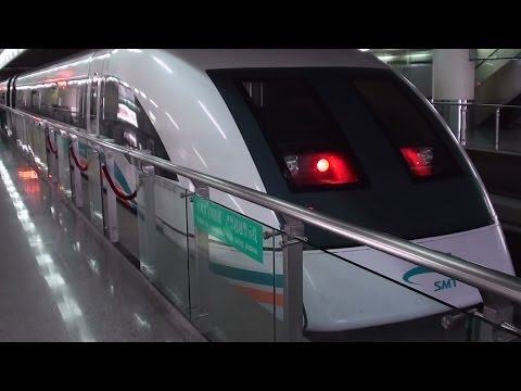 Shanghai Maglev Train and People Square Subway Station 2010 Video