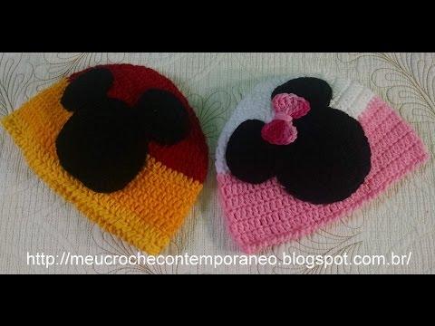 Touca Mickey e Minnie Tamanho de 4 a 6 Anos Modelo Rostinho. Meu Crochê  Contemporâneo e8f2f5e8dd7