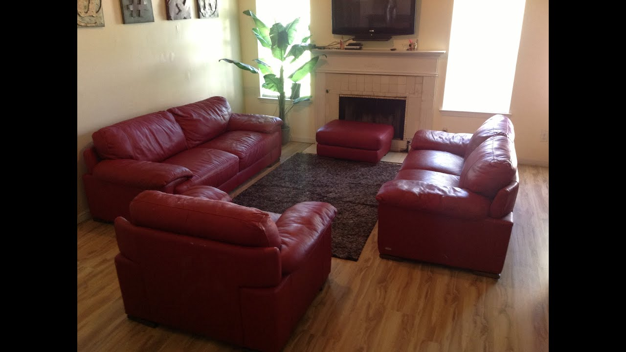 RED CINDYCRAWFORD HOME LEATHER COUCH SET - YouTube