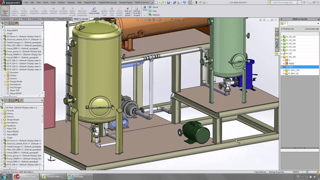 from p&id to 3d piping to isometrics: solidworks and smap3d plant design
